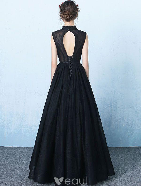Elegant V-neck Evening Dress Black Backless Long Prom Dress 2017