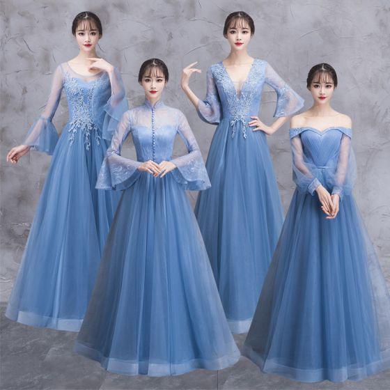 Eleganckie Ciemnoniebieski Przezroczyste Sukienki Dla Druhen 2018 Princessa Długie Rękawy Aplikacje Z Koronki Długie Wzburzyć Bez Pleców Sukienki Na Wesele
