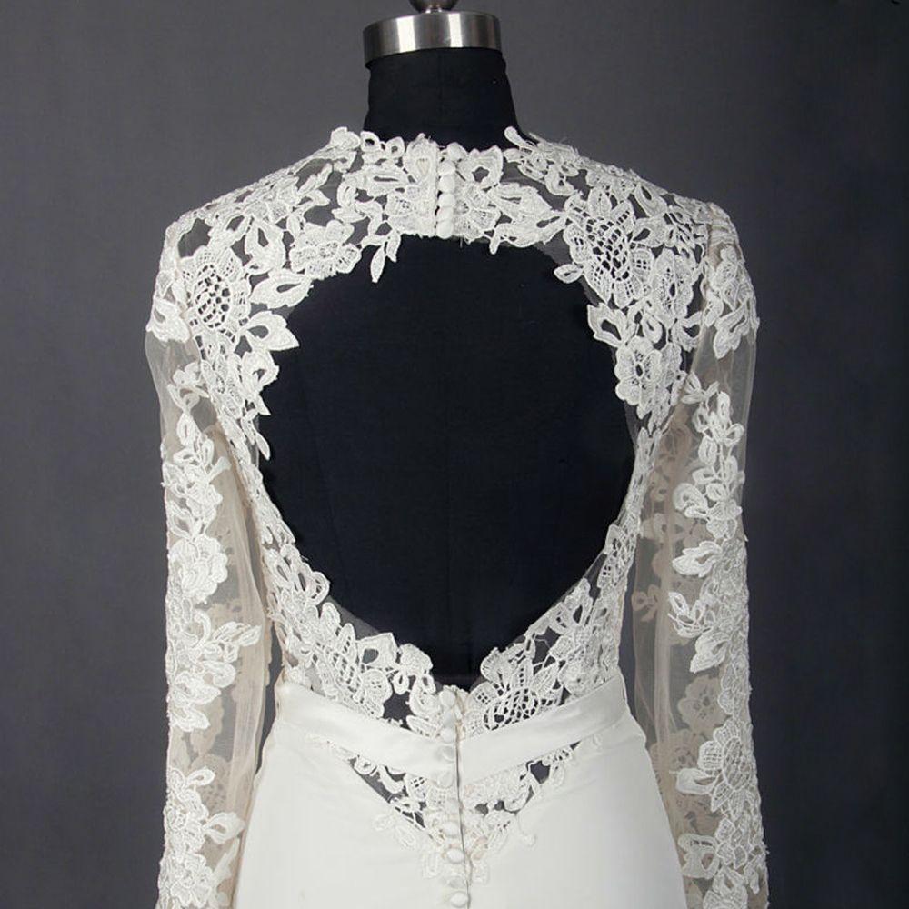 Classic Elegant Ivory Court Train Wedding 2018 Trumpet / Mermaid Long Sleeve Charmeuse U-Neck Lace-up Appliques Backless Pierced Wedding Dresses