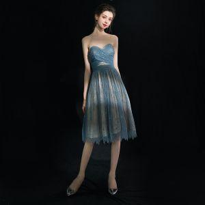 Moderne / Mode Sexy Bleu Robe De Graduation 2018 Princesse Tulle Lacer Dos Nu Courte Bustier de retour Robe De Ceremonie