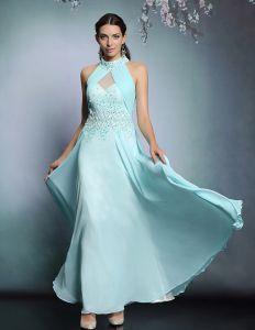 2015 Halter Perlen Pailletten Langen Abendkleid Partykleid