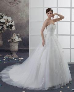 Organza Applique Schatz Gericht Reich Hochzeitskleid Brautkleider