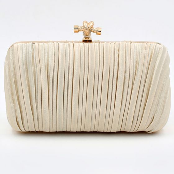Modest / Simple Champagne Clutch Bags Striped Velour Cocktail Party Evening Party Accessories 2019
