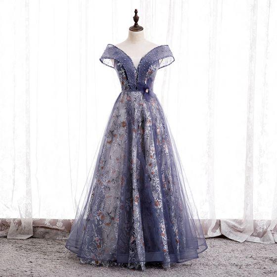 Fancy Purple Dancing Prom Dresses 2020 A-Line / Princess Off-The-Shoulder Short Sleeve Sash Beading Glitter Flower Tulle Floor-Length / Long Ruffle Backless Formal Dresses