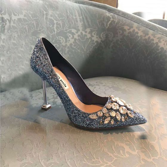 Sparkly Sky Blue Evening Party Rhinestone Pumps 2020 Sequins 9 cm Stiletto Heels Pointed Toe Pumps