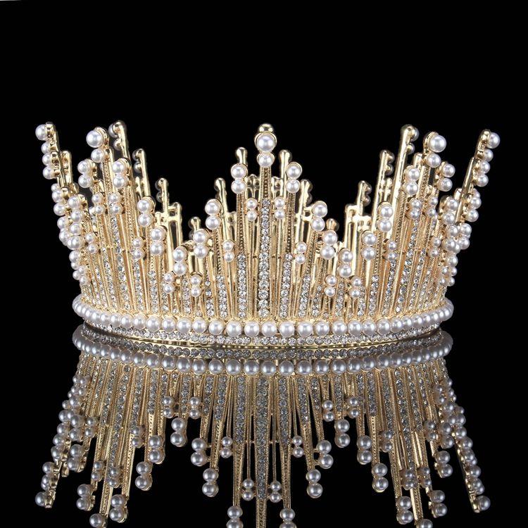 Goud Rhinestone Parel Metaal Tiara 2017 Vintage Unieke Bruidssieraden