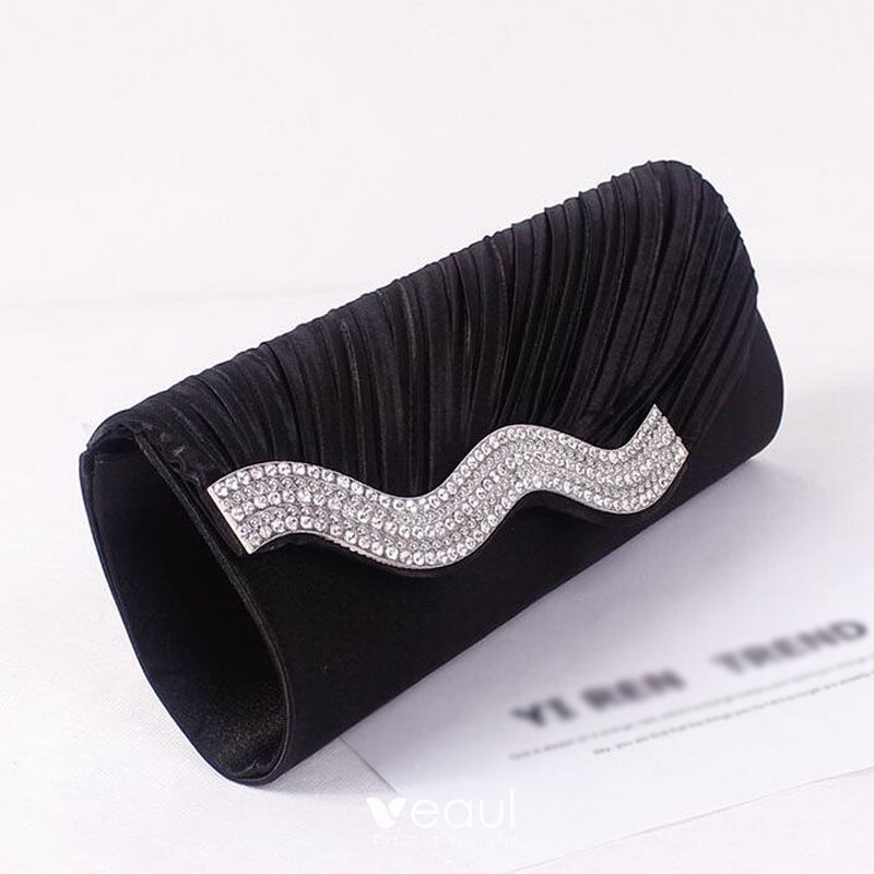 Chic / Beautiful 2017 Outdoor / Garden Black Champagne Grey White Leaf Rhinestone Taffeta Church Evening Party Clutch Bags