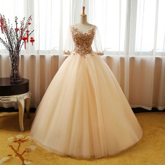 Chic / Beautiful Champagne Prom Dresses 2017 Ball Gown V-Neck 3/4 Sleeve Sequins Beading Floor-Length / Long Ruffle Backless Formal Dresses