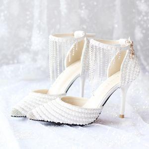 Mooie / Prachtige Witte 2018 Huwelijk 9 cm Spitse Neus Gala Kralen Kristal Rhinestone Hoge Hakken Naaldhakken / Stiletto Bruidsschoenen