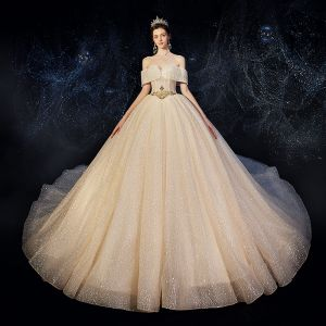 Chic / Beautiful Champagne Wedding Dresses 2020 A-Line / Princess Amazing / Unique Off-The-Shoulder Short Sleeve Backless Beading Glitter Tulle Cathedral Train Ruffle
