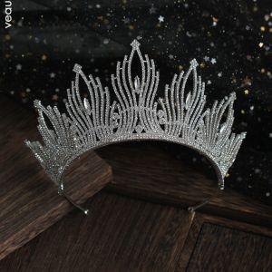 Mooie / Prachtige Zilveren Rhinestone Tiara Huwelijk Accessoires 2019 Bruids Haaraccessoires