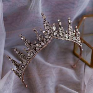 Vintage Bronce Tocados de novia 2019 Metal Rhinestone Tiara Boda Accesorios