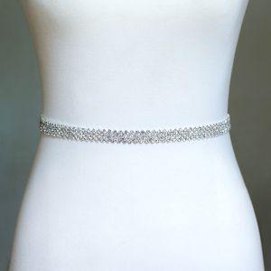 Modest / Simple Ivory Sash 2020 Satin Metal Beading Rhinestone Bridal Wedding Prom Accessories