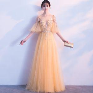 Schöne Gold Abendkleider 2018 A Linie Mit Spitze Applikationen Perle Rundhalsausschnitt Rückenfreies 1/2 Ärmel Lange Festliche Kleider