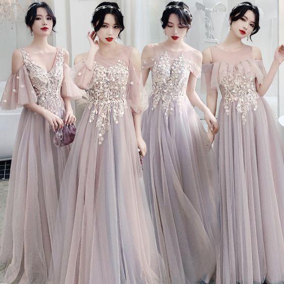 Eleganckie Rumieniąc Różowy Przezroczyste Sukienki Dla Druhen 2020 Princessa Bez Pleców Aplikacje Z Koronki Długie Wzburzyć