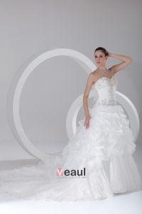 Linke Kochanie Organzy Haftowane Sad Pociag Warstwowych Suknia Balowa Suknie Ślubne Suknia Ślubna