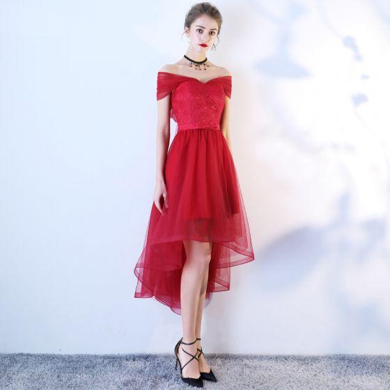 efa0075af Hermoso Borgoña Vestidos de cóctel 2019 A-Line   Princess Fuera Del Hombro  Con Encaje Flor Bowknot ...