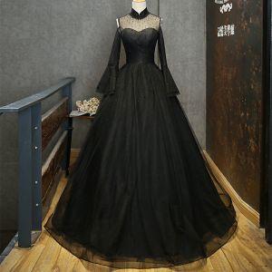 Elegante Schwarz Durchsichtige Ballkleider 2019 A Linie Stehkragen Glockenhülsen Perlenstickerei Strass Lange Rüschen Festliche Kleider