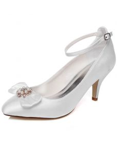 Elegant Wedding Shoes 3 Inch Stiletto Heel Pumps White Satin Bridal Shoes With Ankle Strap