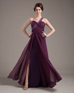 Chiffon Handcraft Flowers Bead Pleated Floor Length Evening Dress