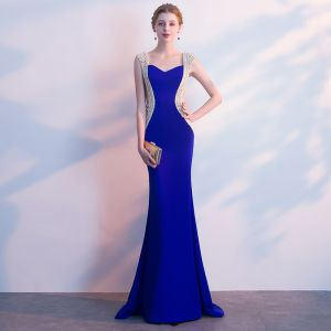 Luxury / Gorgeous Royal Blue Evening Dresses  2018 Trumpet / Mermaid Rhinestone Square Neckline Backless Sleeveless Sweep Train Formal Dresses