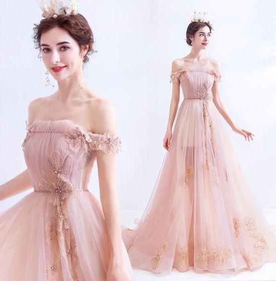 Moda Perla Rosada Vestidos de noche 2021 A-Line / Princess Fuera Del Hombro Glitter Rebordear Rhinestone Lentejuelas Sin Mangas Sin Espalda Colas De Barrido Vestidos Formales