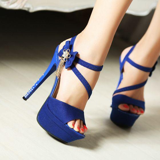 Piękne Królewski Niebieski Koktajlowe Sandały Damskie 2020 Rhinestone Kokarda Z Paskiem 14 cm Szpilki Peep Toe Sandały