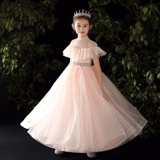 Vintage / Retro Candy Pink Flower Girl Dresses 2020 Ball Gown High Neck Long Sleeve Beading Pearl Rhinestone Spotted Tulle Floor-Length / Long Ruffle