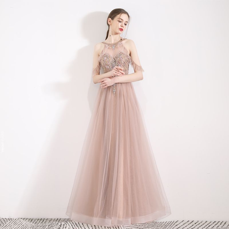 Fabulous Pearl Pink See-through Evening Dresses  2019 A-Line / Princess Halter Short Sleeve Beading Pearl Rhinestone Floor-Length / Long Ruffle Backless Formal Dresses