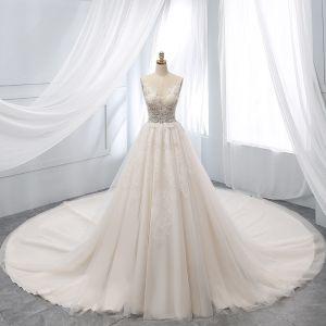 Chic / Beautiful Champagne Wedding Dresses 2019 A-Line / Princess Deep V-Neck Beading Lace Flower Short Sleeve Backless Chapel Train