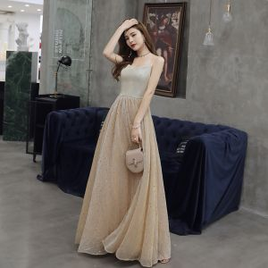 Chic / Beautiful Champagne Evening Dresses  2019 A-Line / Princess Spaghetti Straps Star Sequins Sleeveless Backless Floor-Length / Long Formal Dresses