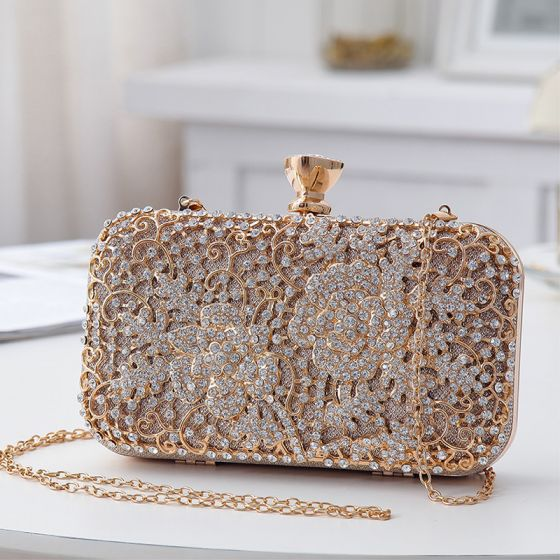 Chic / Beautiful Champagne Beading Rhinestone Square Clutch Bags 2020