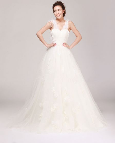 V Neck Flower Beading Floor Length Satin Tulle A Line Wedding Dress