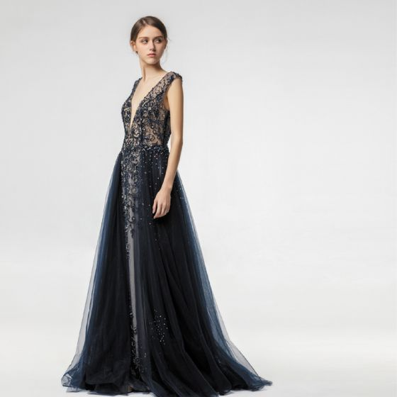 Sexy Illusion Navy Blue Evening Dresses  2019 A-Line / Princess Deep V-Neck Sleeveless Handmade  Beading Sweep Train Ruffle Backless Formal Dresses