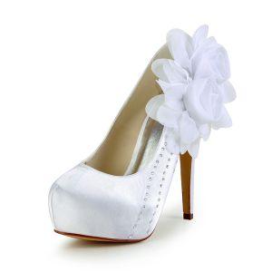 Élégante Chaussures De Mariée Escarpins De Satin Plateforme Avec Strass Fleur