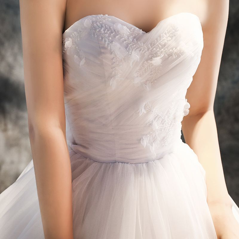 Chic / Beautiful Church Wedding Dresses 2017 White Ball Gown Cathedral Train Cascading Ruffles Sweetheart Pearl Beading Sleeveless Backless Lace Appliques