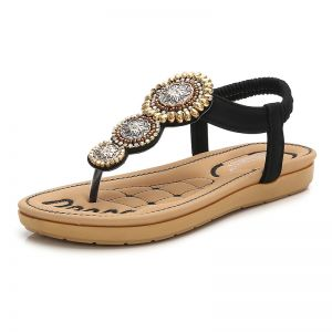 Bohemia Black Summer Beach Slipper & Flip flops 2020 Rhinestone Open / Peep Toe Flat Womens Shoes