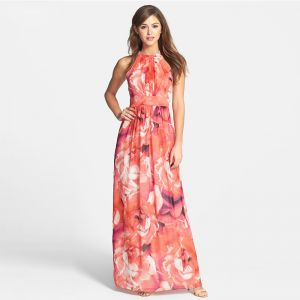 Colored Orange Chiffon Maxi Dresses 2018 Empire Scoop Neck Strapless Sleeveless Printing Flower Floor-Length / Long Ruffle Womens Clothing