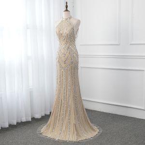 High-end Champagne Evening Dresses  2019 Trumpet / Mermaid High Neck Sleeveless Handmade  Beading Sequins Sweep Train Formal Dresses