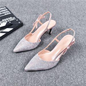 Sjarmerende Sølv Aften Sandaler Dame 2019 Lær Rhinestone Ankelstropp 7 cm Stiletthæler Spisse Høyhælte