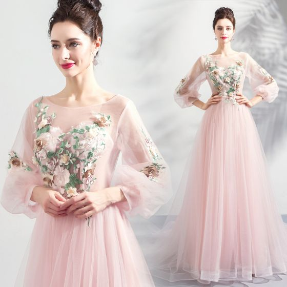 Flower Fairy Pearl Pink See-through Evening Dresses  2018 A-Line / Princess Scoop Neck Long Sleeve Flower Pearl Appliques Lace Chapel Train Ruffle Backless Formal Dresses