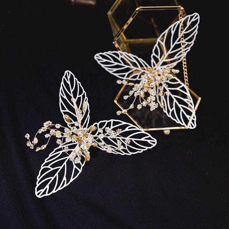 Chic / Beautiful Gold Leaf Bridal Jewelry 2020 Metal Beading Headpieces Tassel Earrings Wedding Accessories