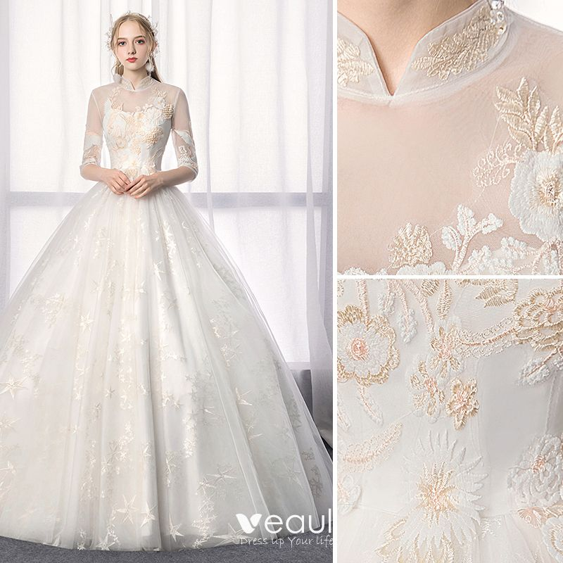 Chinese style Ivory Wedding Dresses 2019 A-Line / Princess High Neck Lace Flower Sequins 1/2 Sleeves Backless Floor-Length / Long