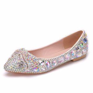Scintillantes Argenté Chaussure De Mariée 2018 Cristal Faux Diamant À Bout Pointu Plate Mariage
