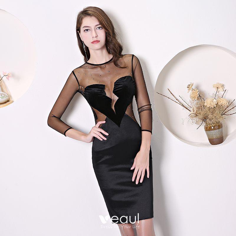 19e69e5ccd Najpiękniejsze   Ekskluzywne Czarne Przezroczyste Sukienki Wieczorowe 2019  Wycięciem 3 4 Rękawy W kształcie serca Rhinestone Krótkie Sukienki Wizytowe