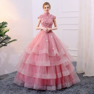 Chic / Beautiful Candy Pink Cascading Ruffles Prom Dresses 2018 Ball Gown Sash Butterfly High Neck Sleeveless Floor-Length / Long Formal Dresses