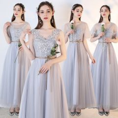 Chic / Beautiful Grey See-through Bridesmaid Dresses 2019 A-Line / Princess Appliques Lace Sash Ankle Length Ruffle Backless Wedding Party Dresses