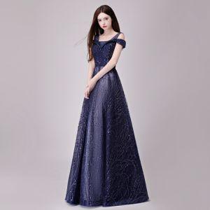 Hermoso Marino Oscuro Vestidos de noche 2018 A-Line / Princess Glitter Lentejuelas De Encaje Hombros Sin Espalda Sin Mangas Largos Vestidos Formales