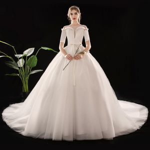 Simple Ivoire Transparentes Robe De Mariée 2019 Robe Boule Encolure Carrée 1/2 Manches Dos Nu Ceinture Cathedral Train Volants