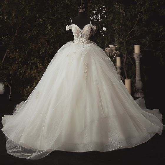 Luxury / Gorgeous Ivory Bridal Wedding Dresses 2020 Ball Gown Spaghetti Straps Deep V-Neck Sleeveless Backless Appliques Lace Beading Cathedral Train Ruffle